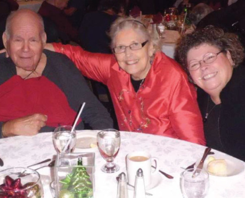 From left to right, Forest Hill resident Vincent Feres is seen here with his wife Sheila and daughter Kathleen during the home's holiday luncheon at the Kanata Holiday Inn.