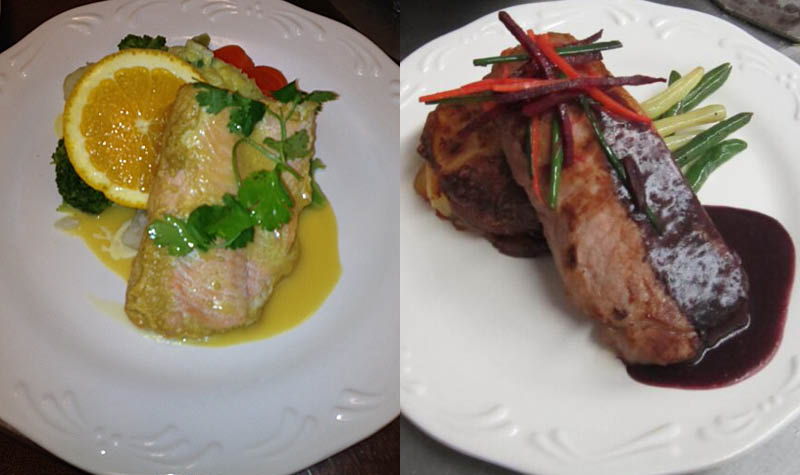 Two examples of the fine food being created in OMNI kitchens.