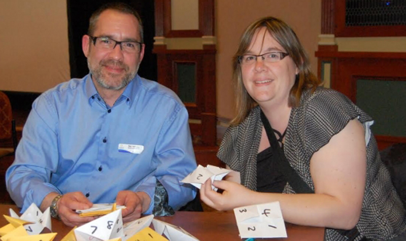 West Lake Terrace administrator/CCC Neil Peterson and Wildwood Care Centre LEC Alison Hoskins take part in an exercise during OMNI's managers' forum.