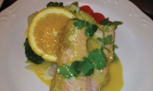 Garden Terrace cook Isioma Okolie's Dijon mustard-orange glazed salmon