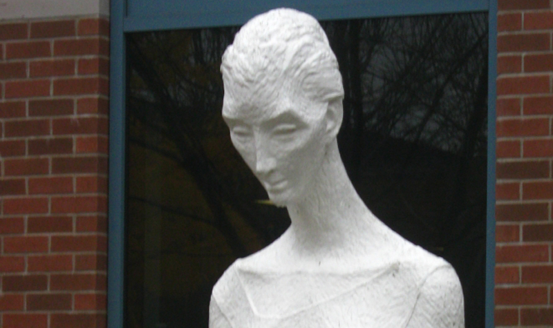Discovery of the Hands, sculpted by Streamway Villa resident Frances Gage, sits at Fanshawe College in London, Ont.