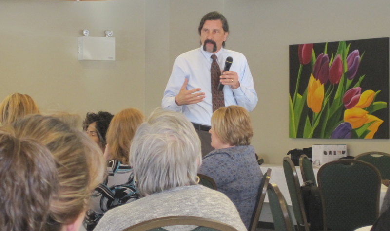 Ethicist Dr. Robert Butcher is seen here speaking to members of the Four Counties Long-Term Care Palliative Network during a Jan. 22 meeting in Peterborough.