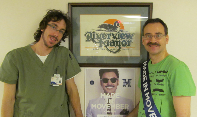 Riverview Manor PSW Nick Mcllwain (left) and life enrichment aide Adam Wicklum show off the moustaches they grew in support of the Movember fundraiser.