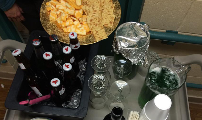 The spread at Streamway Villa's St. Patrick's Day celebration included green beer and cheese and crackers.