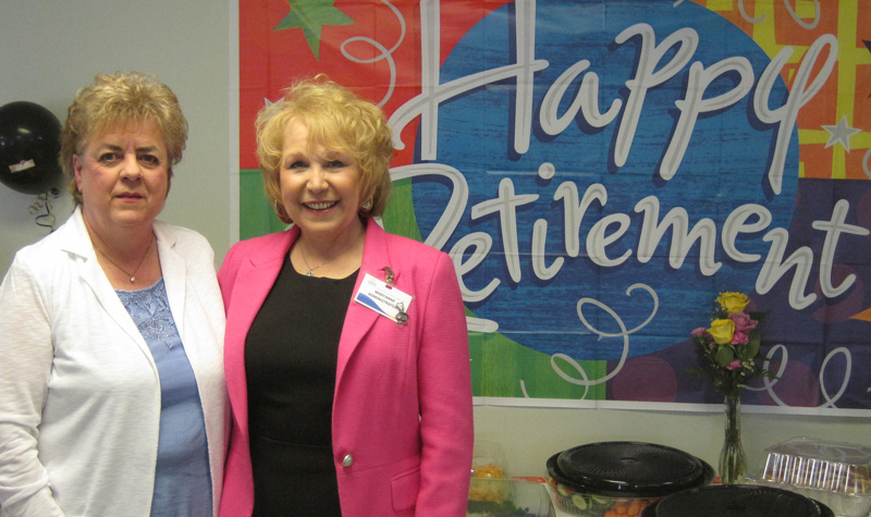 Riverview Manor environmental services manager Faye Hetherington (left) is seen here with the home's administrator, Mary Anne Greco. Hetherington retired April 24 after 32 years at the Peterborough long-term care home.