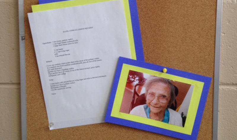 Rosebridge Manor's bulletin board is showcasing a photo of resident Hazel O'Shea along with her recipe for lemon squares.