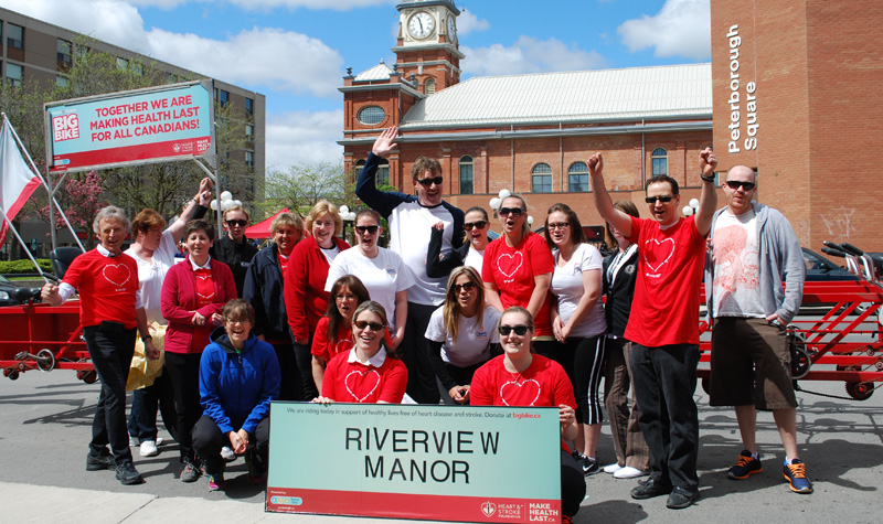 A team from Riverview Manor and OMNI head office participated in the Heart and Stroke Foundation's Big Bike fundraiser in Peterborough on May 13.