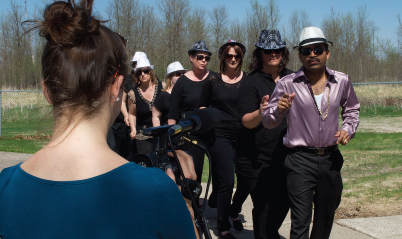 Videographer Amber Pula captures a moment for one of OMNI long-term care home Rosebridge Manor's video contributions.