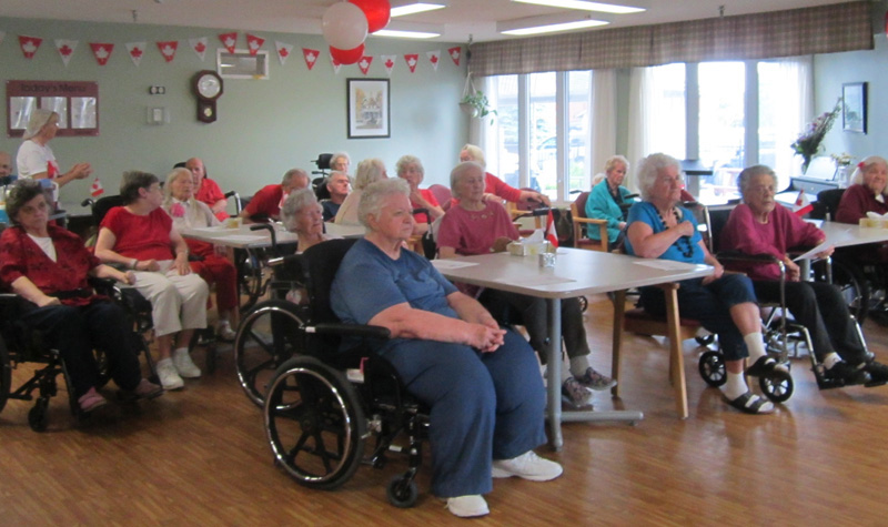 Frost Manor residents are seen here during the Lindsay long-term care home's July 1 Canada Day celebration.