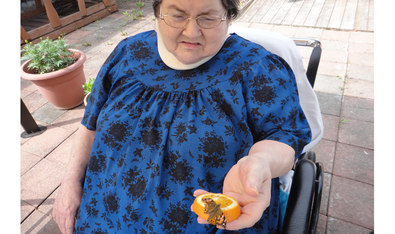 Woodland Villa resident Lucille Maheu is seen here with one of the butterflies that recently hatched at the Cornwall-area long-term care home.