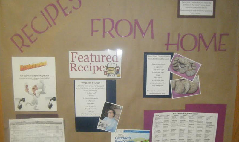 Country Terrace's bulletin board features residents' favourite recipes and the story behind each dish.