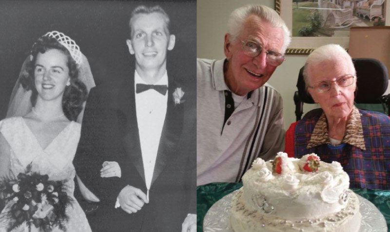 Willows Estate resident Doreen Cowl and her husband Bill are seen here in two photographs: one from their wedding day in 1953 and one from their anniversary celebration on Sept. 30.
