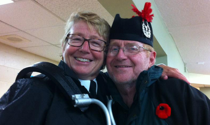 Streamway Villa dietary aide Tammy Dunn (left) recently invited her bagpipe group to practise at the Cobourg long-term care home. Dunn is seen here after the session with resident David Foote. Following the session, Dunn had a special moment when she realized the difference the music had made to a resident who had remained in his room that evening.