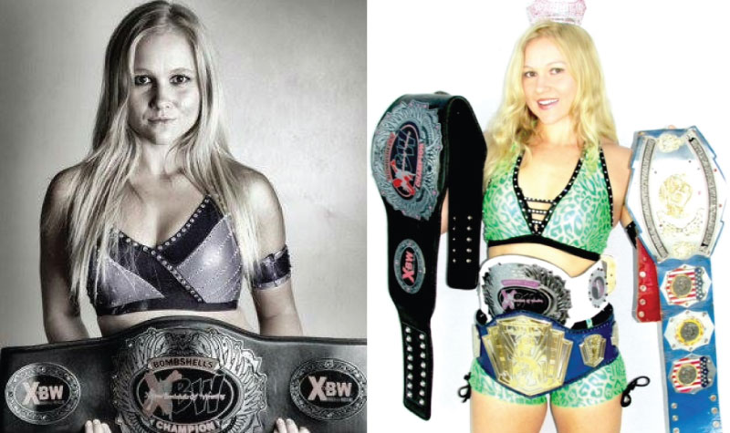 Country Terrace life enrichment aide Alicia Vanderhoven has another career – as professional wrestler Leah von Dutch. She is seen here with two of her title belts.