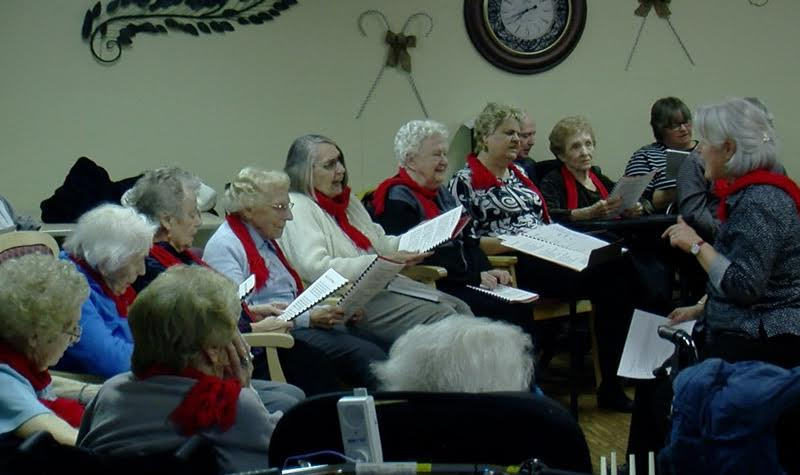 The Springdale Country Manor resident choir is seen here performing at the Peterborough County long-term care home's Christmas service on Dec. 15.