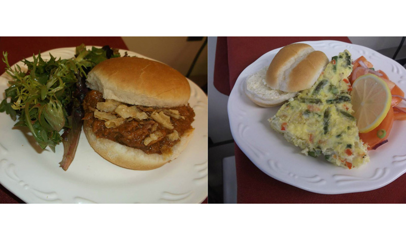 Pictured above are two lunchtime menu items recently served at Frost Manor: a pulled beef sandwich topped with crispy onions and an asparagus frittata.