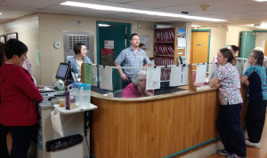 Streamway Villa staff members are seen here gathering for a quality improvement huddle on Jan. 28.