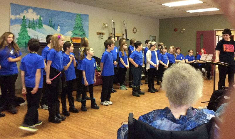 Students from Southview Public School's choir are seen here performing for Village Green residents on Feb. 11.