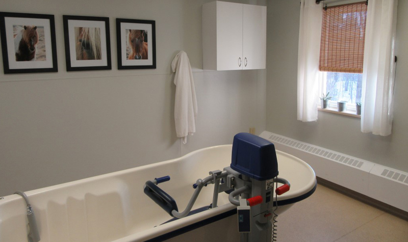 The design to Forest Hill's refurbished tub room was largely based in input from resident Joan Leclaire.