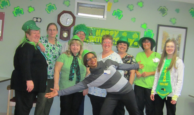 Frost Manor team members got into the spirit of St. Patrick's Day by dressing in green.