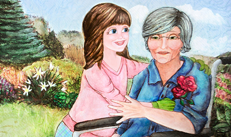 An illustrated scene from Kathryn Harrison's book, Weeds in Nana's Garden.