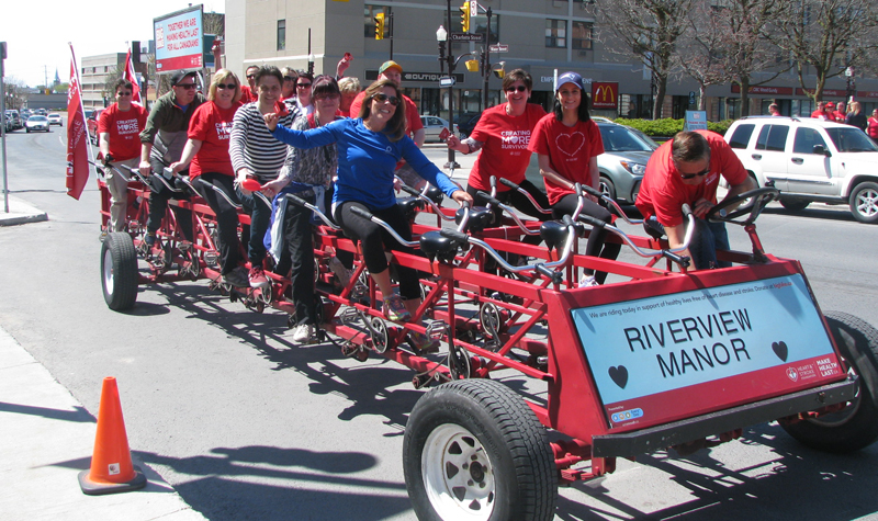 Riverview Manor's Big Bike team, pictured above, raised more than $1,500 for the Heart and Stroke Foundation on May 10.