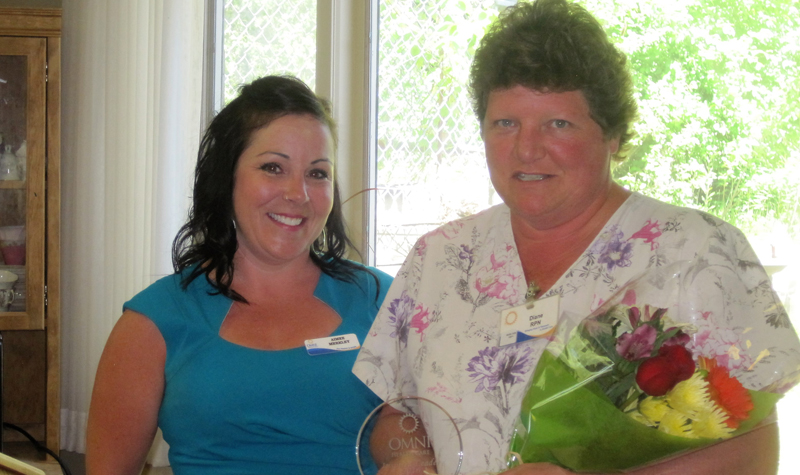 Riverview Manor RPN Diane Fife (right) is seen here holding her Inspired Leader Award alongside OMNI's western director of operations Aimee Merkley during a June 10 ceremony at the home.