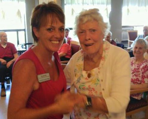 Bonnie Duff dancing with a resident of Almonte Country Haven, Fran Murkar.