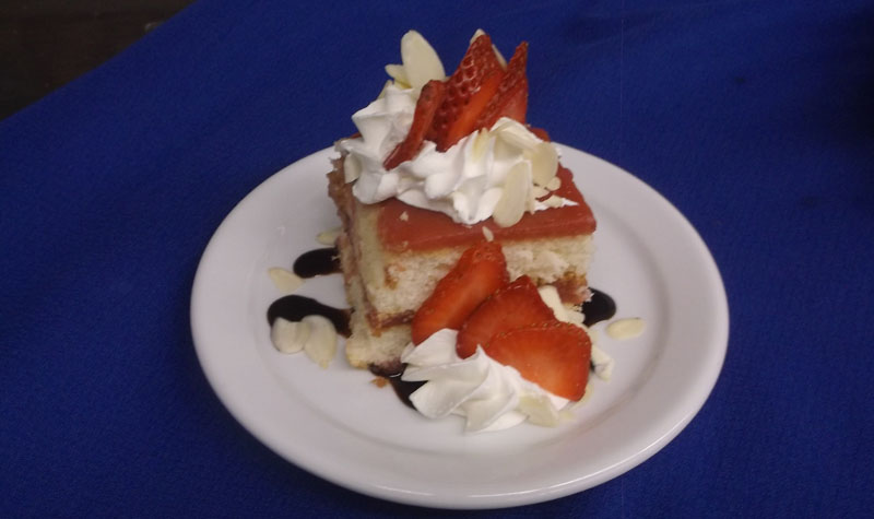 Pictured above, strawberry shortcake was served for dessert during Frost Manor's July 28 strawberry supper.