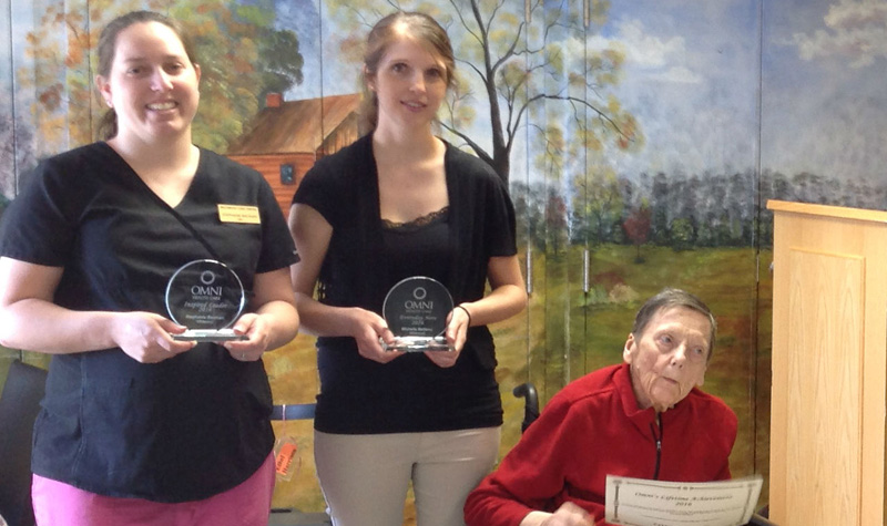 RPN Stephanie Bauman, far left, is seen here after receiving her Inspired Leader Award Sept. 21 at Wildwood Care Centre.