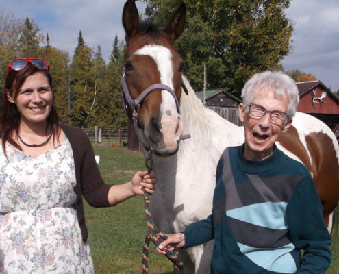 Frost Manor resident Lillian Hawery (right) is seen here with a environmental services worker Meagan Wilson during a recent outing to a farm owned by the family of Tanya Smith, another staff member from the Lindsay long-term care home.