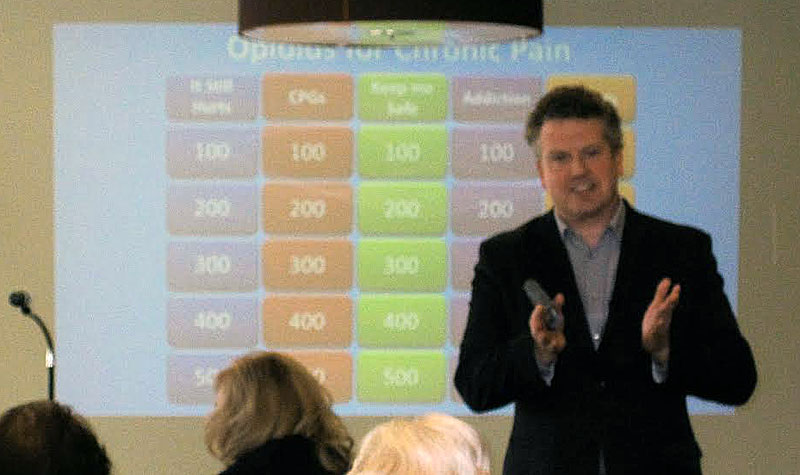 Pictured above, Dr. Alex Lang, a medical adviser with Mylan, hosted a session on opioid prescriptions to address chronic pain. As part of his interactive session, Dr. Lang used a model of the game show Jeopardy to help attendees demonstrate what they had learned during the session.