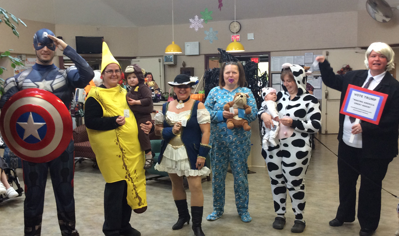 Rosebridge Manor staff members show off their costumes during the Jasper, Ont. long-term care home's annual Halloween party on Oct. 31.