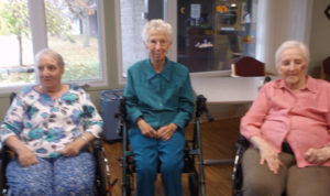 From left to right, Frost Manor residents Lorraine Kingdon, Lillian Hawery and Joy Dobson pose for a photo. These three ladies have had great success in the home's physiotherapy program.